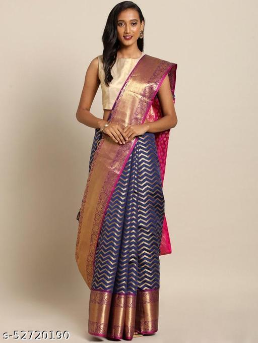 Original Kanjeevaram Silk Saree Contrast Pallu With Wonderfull Running Blouse Peace