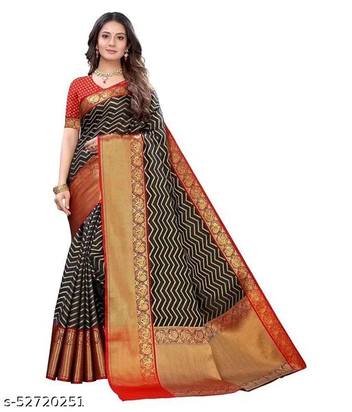 banarasi Silk Black saree With Wonderfull Contrast Running Blouse