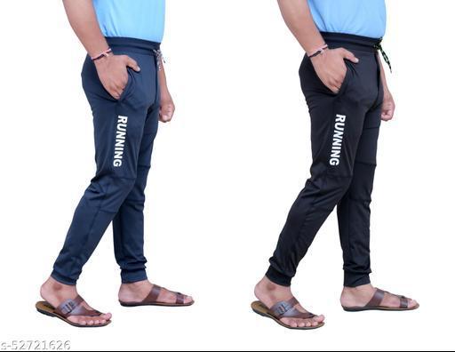 Track Pants for men sportwear gymwear bottom wear yoga track pants knit joggers jeggies boys track pants combo pack of 2 Both side zipper pocket 4 way lycra