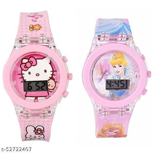 Hello Kitty & Princess Kids Analog Led Glowing Light Watch for Kids
