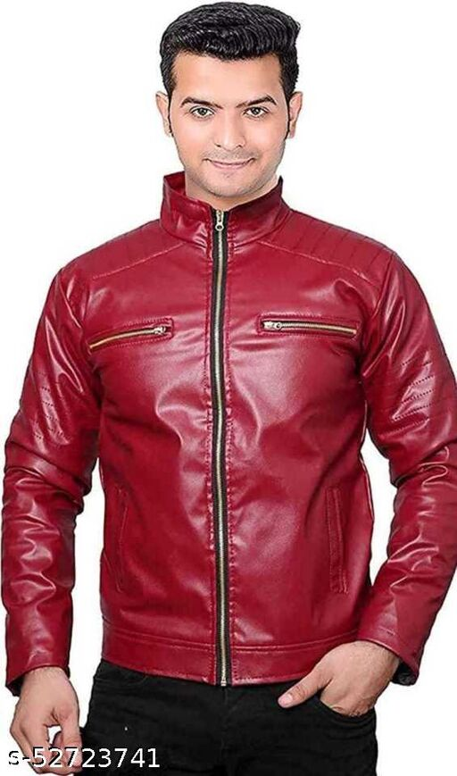 Full Sleeve Solid Men Leather (Maroon)