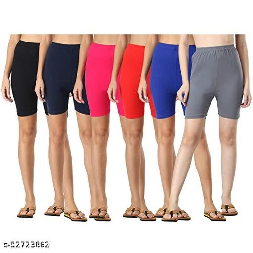 Cotton Lycra Tight Fit Stretchable Cycling Shorts Womens | Shorties for Active wear/Exercise/Workout/Yoga/Gym/Cycle/Running Combo Pack of 6