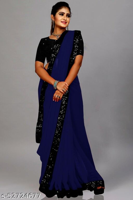 FANCY GORGETTE SAREE AND SIQVENCE BLAUSE