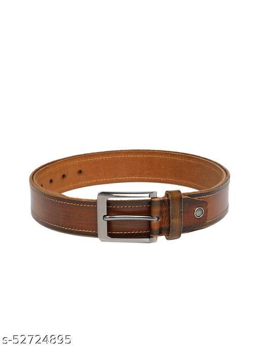 Men Tan Brown Solid Leather Belt BB7-02