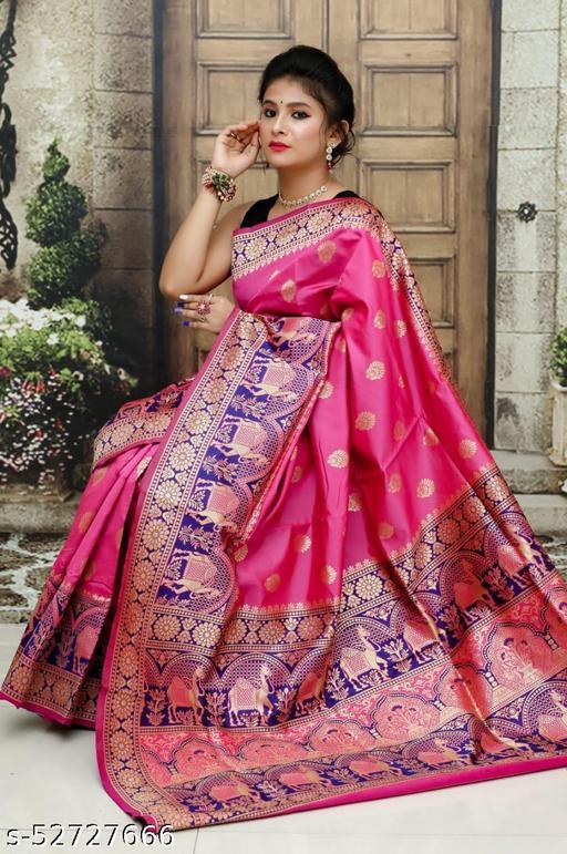 BLACK WOLF Camel Paithani Beautiful Soft Pure Banarasi Silk Saree With Beautiful Weaving Rich Pallu