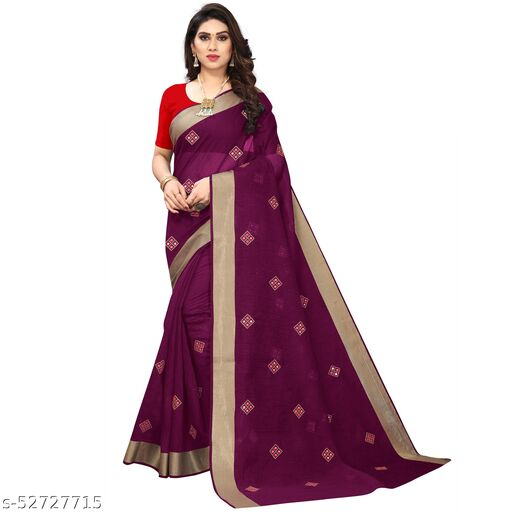 Woman's Purple Cotton Linen Mirror Work saree with Red color blouse Piece in Solid style