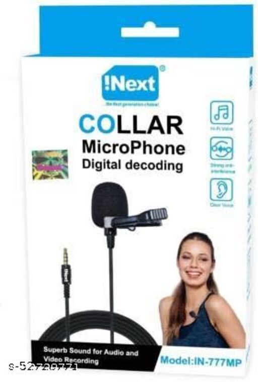 Inext in 777 MP 3.5mm Noise Cancellation Clip Microphone   Collar Mike for Voice Recording   Mic Mobile, PC, Laptop, Android Smartphones, DSLR Camera (Black) Microphone