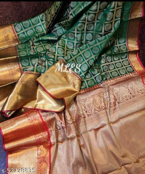 BLACK WOLF Kanan Gola Kanchipuram Handloom Weaving Silk Saree
