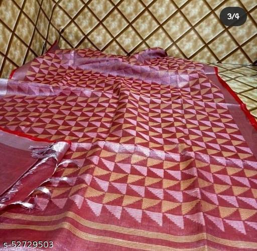 Tissu Linen saree with running blouse piece