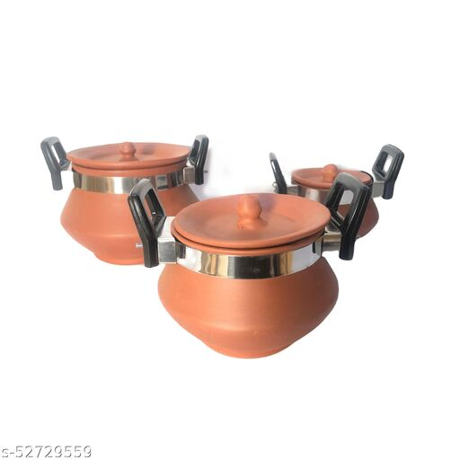 terracotta plain handi with clay lid for cookware dishware set of 3