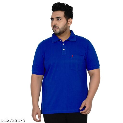 BURNT UMBER - PLUS SIZE SOLID BLUE POLO NECK T-SHIRT