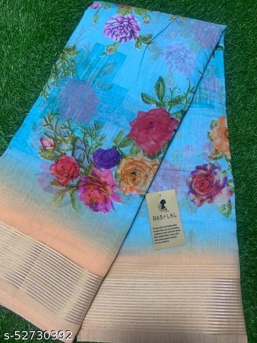 Anni Designer Blue Linen Gloral Print Saree