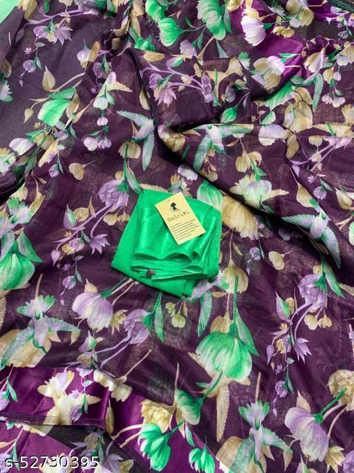 Anni Designer Purple Linen Gloral Print Saree