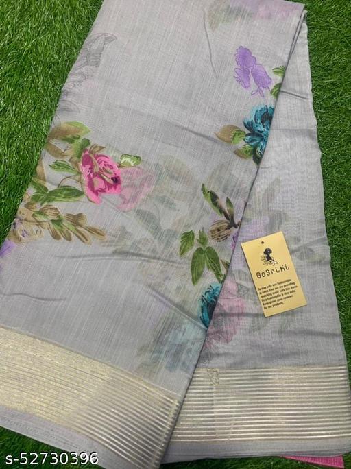 Anni Designer Grey Linen Gloral Print Saree