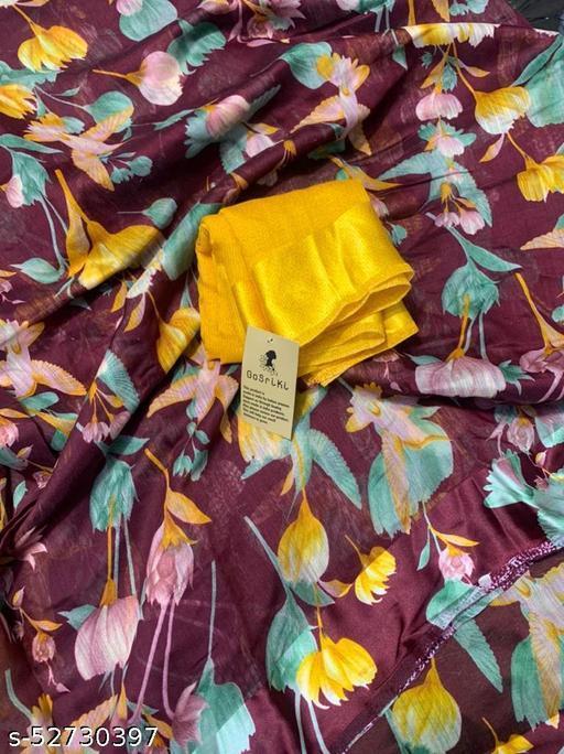Anni Designer Brown Linen Gloral Print Saree