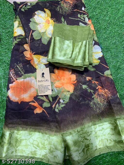 Anni Designer Black Linen Gloral Print Saree