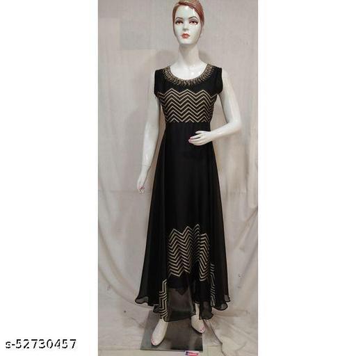 Women Black Embroidered Chiffon Long Frock Style Kurti