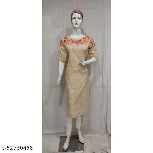 Women Beige Colour Embroidered Straight Kurti