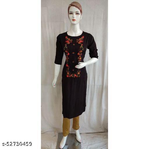 Women Black Colour Cotton Thread Embroidered Single Kurti