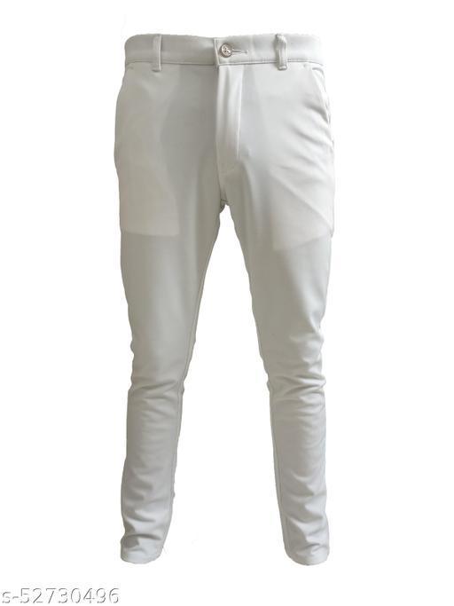 BLACK DERBY  Cotton White Casual Trousesr for Men