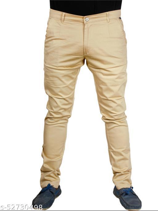 J.L.U  Cotton Beige Casual Trousesr for Men