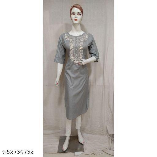 Women Blue Embroidered Cotton Straight Kurti