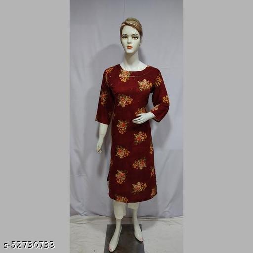 Women Brown Printed Rayon Kurti