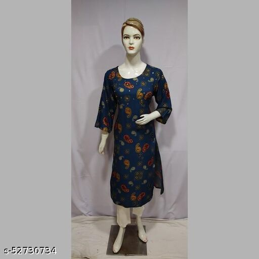 Women Blue Printed Rayon