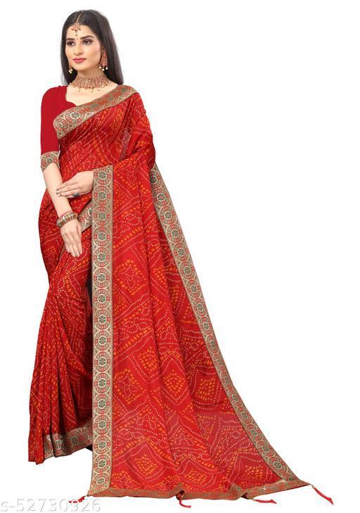 Bandhani Design Heavy Lace Saree