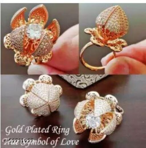 Gold-Plated & White AD-Studded Rotating Adjustable Finger Ring