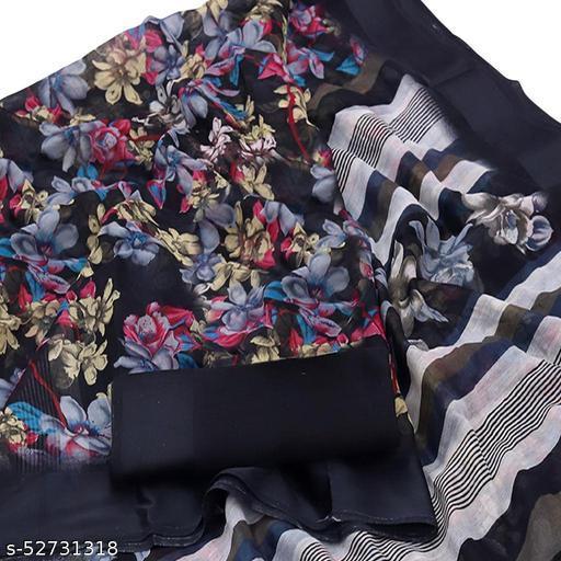 Indira Fashion Black Linen Printed Saree (Satinpati-Black 1)