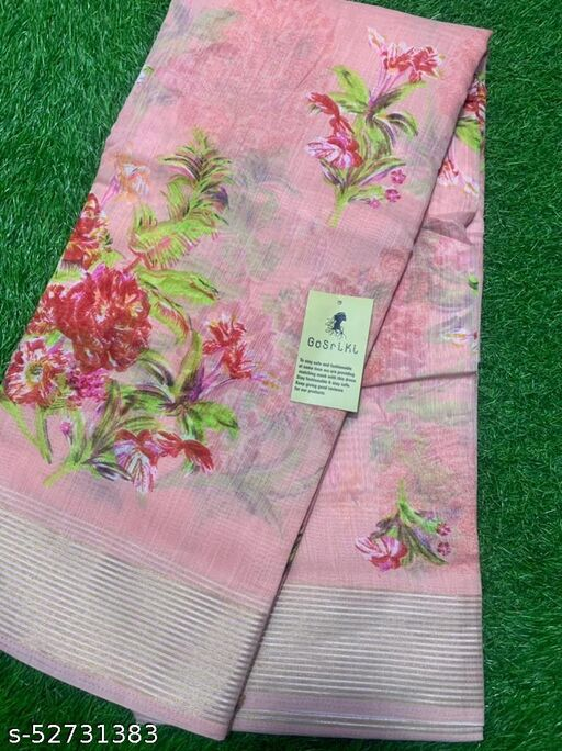 Indira Fashion Pink Linen Gloral Print Saree