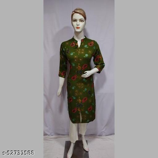 Women Green Printed Rayon Kurti