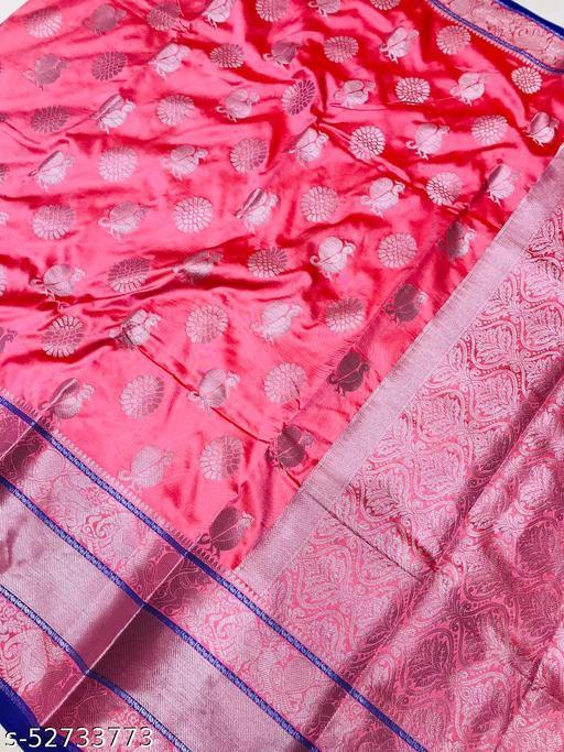 BLACK WOLF Rajghrana-2 Lichi Silk With Wiving Silver Zari Saree