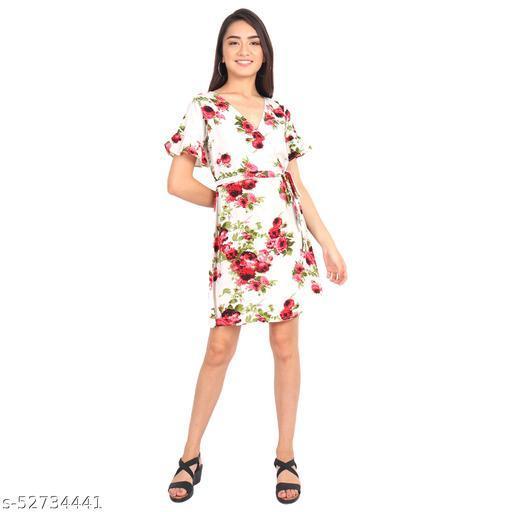 D'Vesh Women Regular Fit Off White Floral Printed Dress