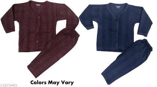 Kids Thermal Set Front Open Inner Wear Top & Pyjama Body Warmer for Baby Boys & Baby Girls in Dark Color Set of 2