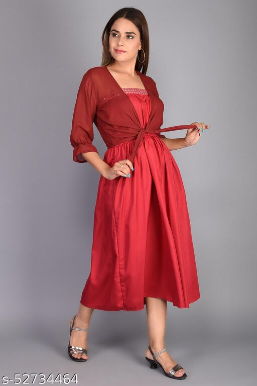 Trendy Front Knot Combo Shrug Peach Dress