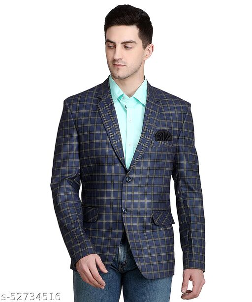 Touch Fitt 2 Button Regular Fit Formal Checked Blazer for Men Available in 6 Size (Color-Blue)