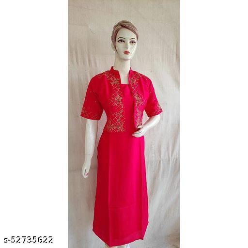 Women Pink Embroidered Silk Kurtis Jacket Set