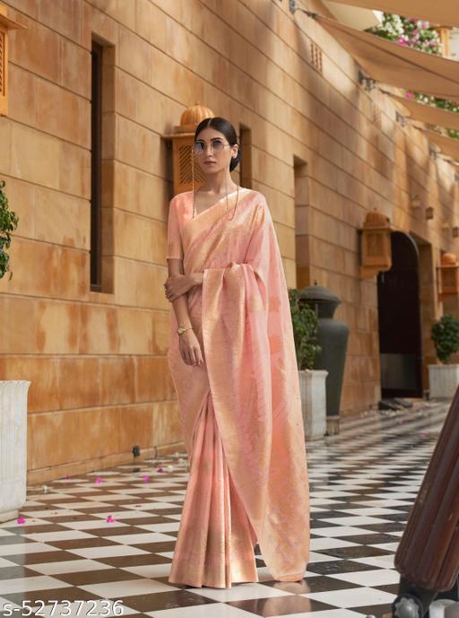 Aurima Soft Silk Designer Saree For Women (Peach)