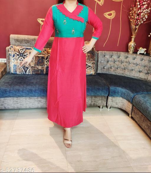 Women's Designer Sea Green & Pink A-line Kurta with Floral Handwork