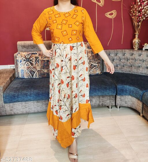 Women's Yellow Floral Printed A-line Flair Maxi with Attractive Hand Woven Work