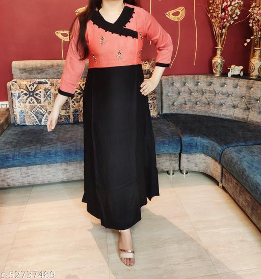 Women's Designer Orange & Navy Blue A-line Kurta with Floral Handwork