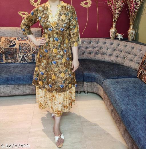 Women's Double Layered Kurta with Innovative Handwork and Beads
