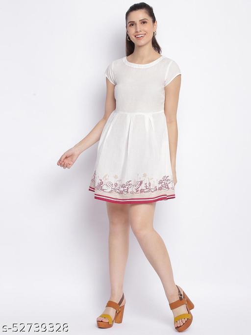 Shoppertree white printed dress for woman's
