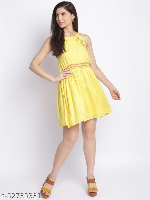 Shoppertree Embroidered yellow dress