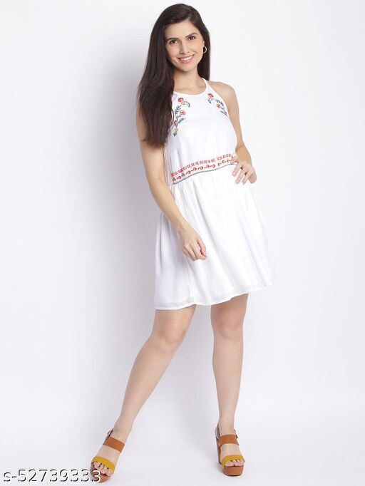 Shoppertree Embroidered white dress