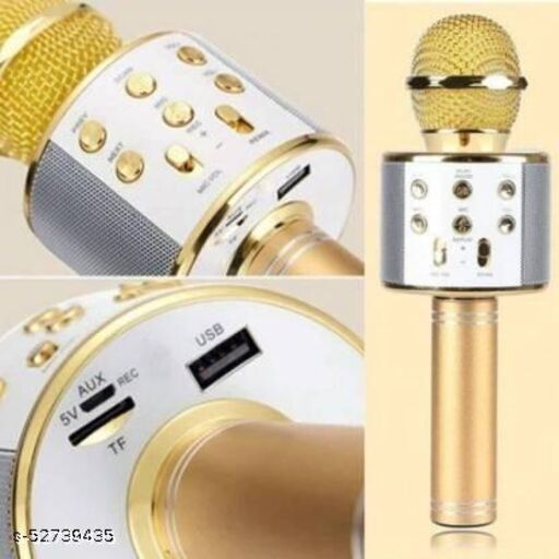 WS-858 Wireless Handheld Bluetooth Mic with Speaker (Bluetooth Speaker) Audio Recording and Karaoke Feature Microphone Handheld 858