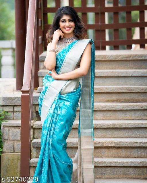 Morano Women's Litchi Silk Saree With Blouse Piece