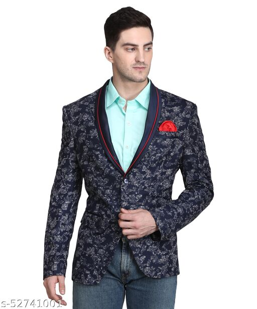 Touch Fitt 2 Button Regular Fit Designer Blazer for Men Available in 6 Size (Color-Blue)